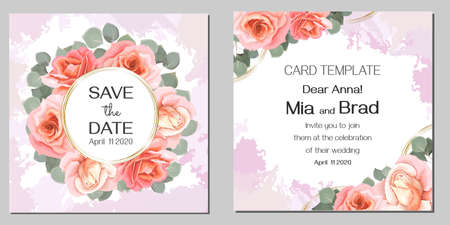 Vector floral wedding invitation. Round gold frame, beads, pink roses, eucalyptus. Stock Illustratie