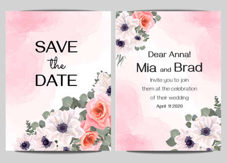 Floral card for wedding invitations. White anemones, pink roses, eucalyptus, green plants. Red watercolor background