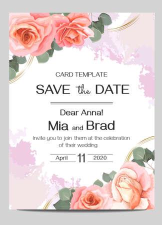 Vector floral wedding invitation. Pink roses, eucalyptus, watercolor brush strokes, round golden shapes. Postcards template for your text. Ilustración de vector