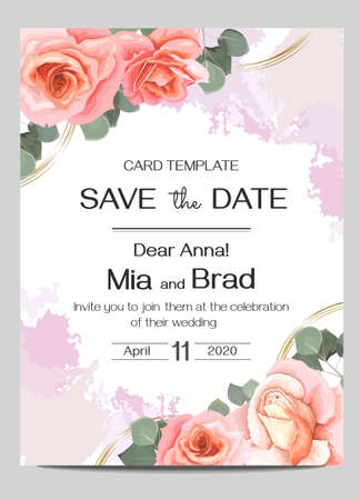 Vector floral wedding invitation. Pink roses, eucalyptus, watercolor brush strokes, round golden shapes. Postcards template for your text. Vetores