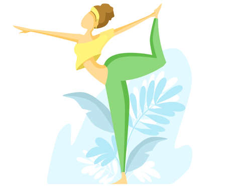 Flat vector illustration. The girl practices yoga. Natarajasan's pose, standing archer's pose. Illustration