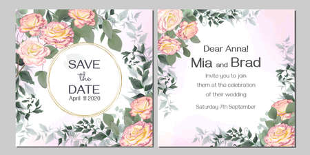 Vector floral wedding invitation. Round gold frame, beads, pink spray rose, green plants and leaves, eucalyptus.