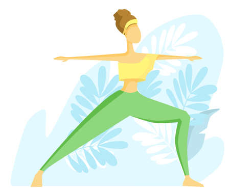 Flat vector illustration. The girl practices yoga. Warrior Pose.