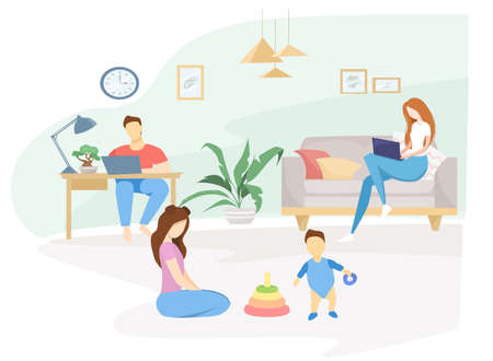 Flat vector illustration. Quarantined family, self-isolation. Mom and dad work from home, the eldest daughter plays with her younger brother. Interior room with lady plants. Coronavirus pandemic.