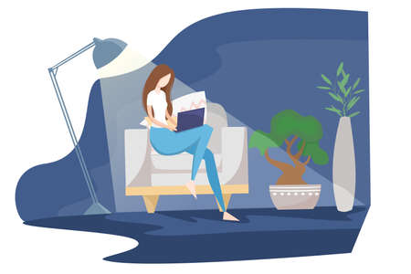 The girl works from home, distant work, freelancer. The dark room is lit by a lamp. A woman sits on an armchair and works in a laptop. Flat vector illustration.