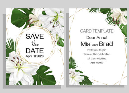 Floral tropical design for your holiday. White lilies flowers, tropical leaves, palm trees, monstera, golden frame. Template for a wedding invitation. Иллюстрация