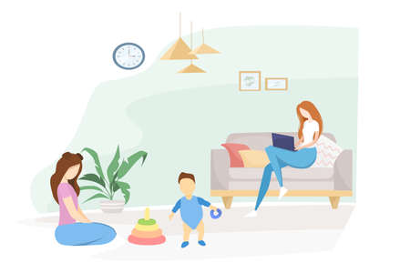 Flat vector illustration. Quarantined family, self-isolation. Mom work from home, the eldest daughter plays with her younger brother. Interior room with lady plants. Coronavirus pandemic.