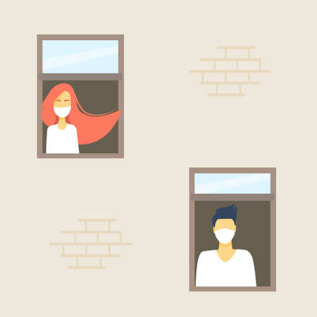 Girl and guy look out the window in medical masks, waiting for the end of quarantine. Window from the side of the street. Flat vector illustration. Isolation and sadness, an epidemic.