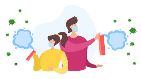Flat vector illustration. A woman and a man are spraying an antiseptic into the air. Bacteria and coronavirus viruses fly in the air. Disinfection, coronavirus epidemic. People fight infection.