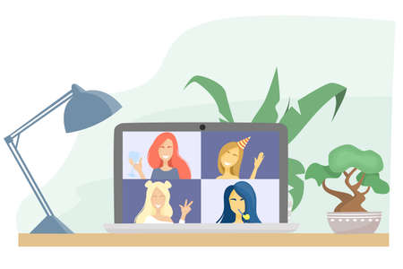 Flat vector illustration. Birthday party online, bachelorette party. Girls talk to each other on a video call. Conference on a laptop. Quarantine, self-isolation during a pandemic.
