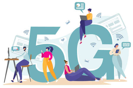 Flat vector illustration. Internet services of telecommunication systems. People work on the Internet, check mail, correspond. Wifi broadcast, mobile 5G signal.
