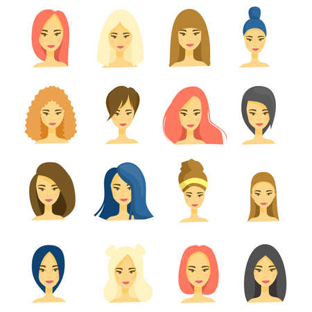 Beautiful faces of young girls, different hairstyles, haircuts, long, short hair, brunettes, brown-haired women, blondes and redheads. Avatars, icons isolated on a white background. Vector flat illustration. Çizim