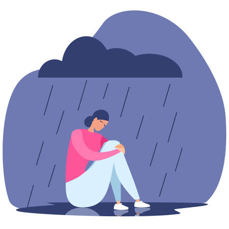 Woman is sick with depression. A sad girl sits in the rain. Suffering, depression, psychological assistance. Flat vector illustration.