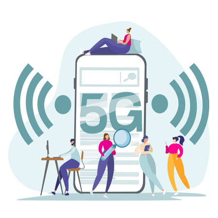 Flat vector illustration. Internet services of telecommunication systems. People work on the Internet, check mail, correspond. Wifi broadcast, mobile 5G signal. 向量圖像
