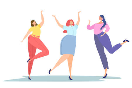 Happy dancing women. Office workers. Body positive.