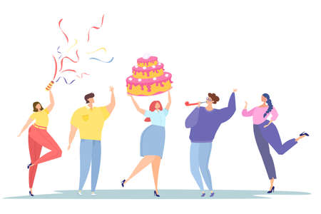 Corporate party. Employee's birthday. People wish happy birthday. Flat vector illustration. Cake, clapperboard, confetti.