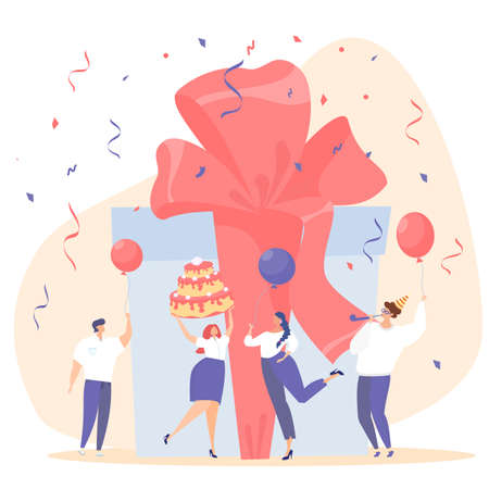 Corporate party. Employee's birthday. People wish happy birthday. Flat vector illustration. Cake, balls, crackers, confetti, fun. Unified corporate style. Ilustração