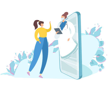 Flat vector illustration. The doctor conducts an online consultation. A girl calls a doctor on a video call.  イラスト・ベクター素材