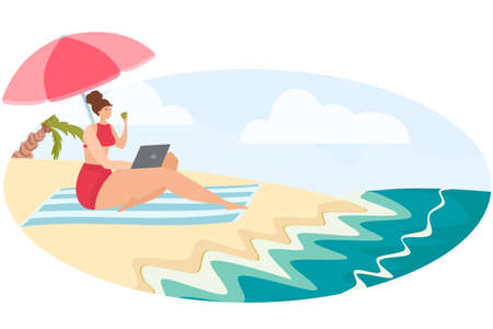 The girl works remotely on the beach. Freelancer in a warm country. Palm trees, sand, sea. Dream job.