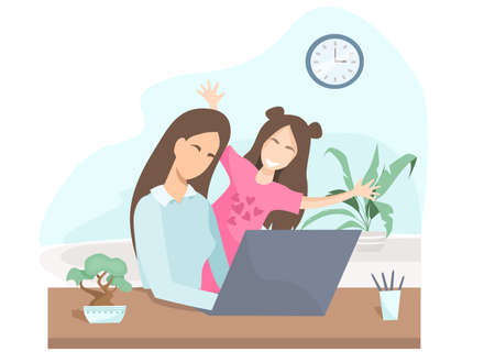 Flat vector illustration. During quarantine, a woman works from home. During a video call, the girl runs into the room. The child is preventing mom from working. Work on maternity leave.