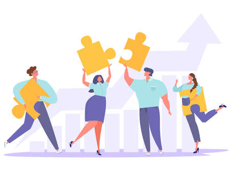 Business concept. People connect puzzle elements. Teamwork brings results, the schedule tends to the top. Flat vector illustration. Vetores