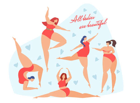Happy women dance and do gymnastics. Bodipositive. Love your body. All bodies are beautiful.