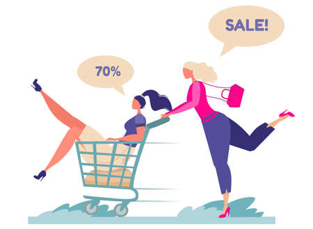 Flat vector illustration. Young girls running for sale. Big discounts in stores. Opening stores after quarantine. The girl carries her friend on a grocery cart.