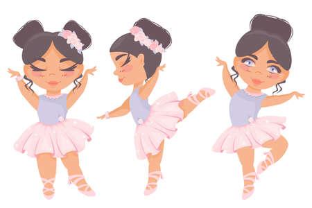Set of beautiful girls ballerinas. Ballet leotards, tutus, pointe shoes, flowers. Little dancers. Children's vector illustration.