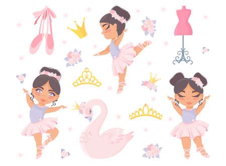 Seth ballet. Beautiful little ballerinas, princess swan, crown, diadem, pointe shoes, flowers, mannequin. Vector children's illustration. Vettoriali