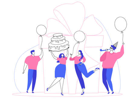 Corporate party. Employee's birthday. People wish happy birthday. Vector illustration. Cake, balls, crackers, confetti, fun. Unified corporate style.