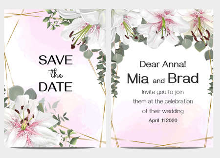Vector template for a wedding invitation. Floral wedding design. Royal white and pink lilies, eucalyptus leaves. Marble background, golden polygonal frame.