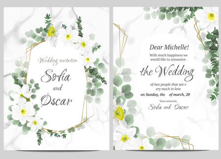 Floral template for your wedding. Beautiful white daffodils, green plants and leaves, Gold polygonal frame, marble background. Greeting card for your text. Ilustrace