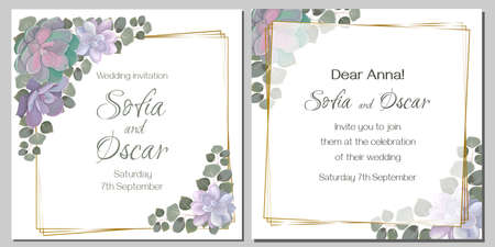 Template for your wedding invitation. Vector illustration. Juicy succulents, eucalyptus leaves, square golden frame.