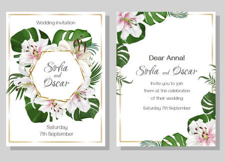 Floral design for a wedding invitation. Tropical plants and flowers, palm leaves, monstera, white with pink lilies, polygonal golden frame.