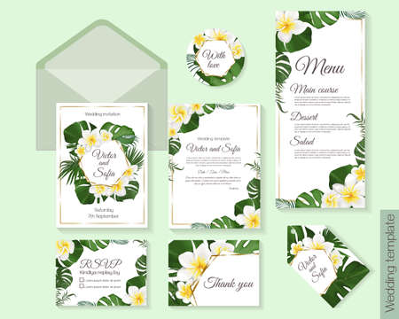 Floral tropical design for your holiday. White frangipani flowers, tropical leaves, palm trees, monstera, golden frame. Template for a wedding invitation. Invitation card, thanks, rsvp, menu.