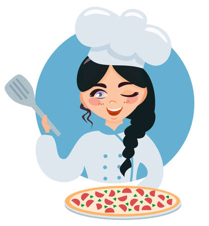 Little girl chef is holding a dish.