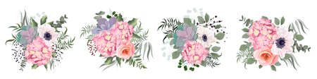 Vector flowers on a white background. Lush pink hydrangea, roses, anemones, succulent, various leaves and plants.
