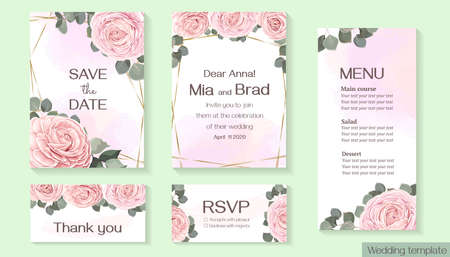Vector floral template for wedding invitation. Pink roses, eucalyptus, green plants and leaves, asiatic buttercup. Rsvp, invitation, thank you, menu.