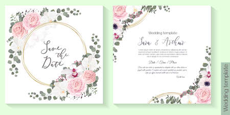 Vector floral template for wedding invitations. Pink roses, white orchids, berries, gypsophila, eucalyptus, round gold frame, green plants and flowers. Postcard for your text.