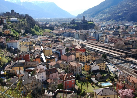 Overview of Bellinzona in Ticino Фото со стока - 20899224