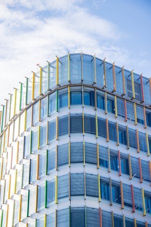 The windows of the Gazprom business center in St. Petersburg. The business center is June 2018. Mirror windows Stock Photo - 124658551