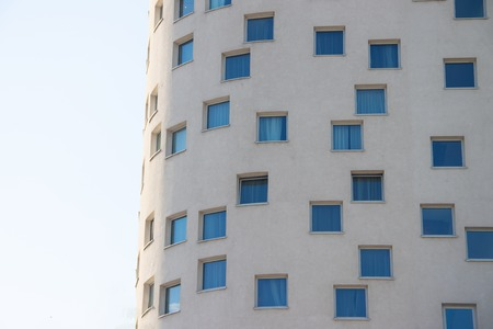 Windows of the Crowne Plaza Hotel in St. Petersburg, June 2018. Expensive hotel with interesting design Editöryel