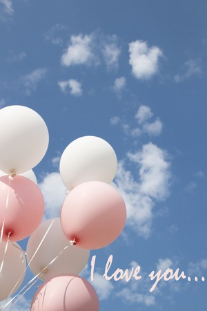 Picture I love you with balloons. Valentine's Day. Love card. Balloons. The inscription I love you 免版税图像