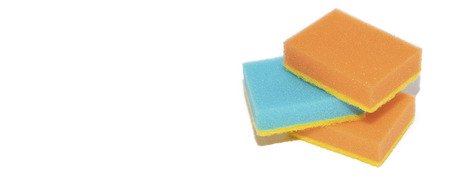 sponges for washing dishes. Sponges for washing dishes on white background. Washing dishes, cleaning. Kitchen accessories. Houseware.