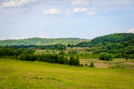 Russia's expanses, Summer landscapes. Open fields and rivers. Pskov region
