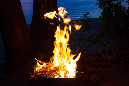 A divorced fire in a grill for a shish kebab. Fire at night in the grill. Bonfire at night. Burning Fire 写真素材