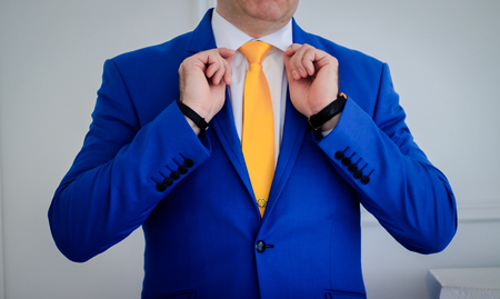Blue men's suit. Wedding costume for men. Wedding wear. Wedding preparations Archivio Fotografico