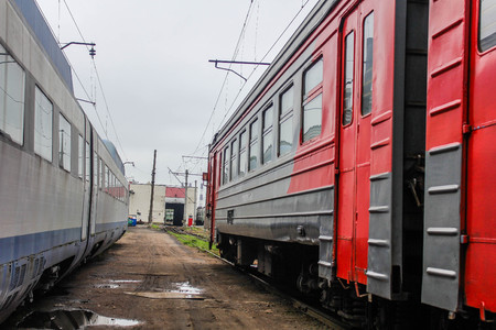 in the depot of steam locomotives, electric locomotives on railway tracks