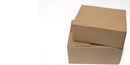 Cardboard box on a white background. Isolated object. Product packaging