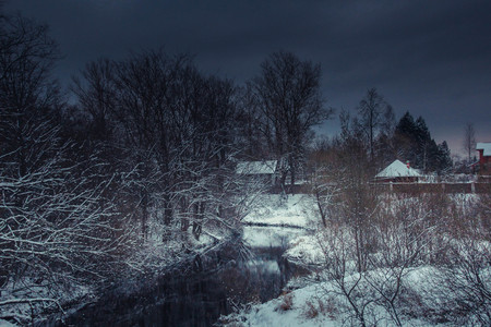 Winter park landscape with a river. Russian landscapes. Winter season, cold season. Snow picture